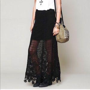 Free People Mi Amore Crochet Lace Maxi Skirt